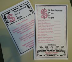 Price is Right Baby Shower Game.  The Price is Right - Like the game show, purchase 10 different baby items. Each guest will write their answer on a piece of paper. The baby shower guest with the most correct corresponding prices wins a prize!