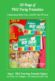 30 Days of FREE Party Printables: Day 6 - St Paddy's Day Treat Bag Toppers by Party On Designs
