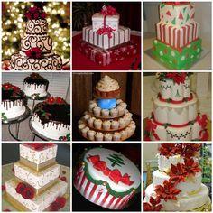 Various Christmas cakes.