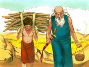 Free Bible illustrations at Free Bible images of the miraculous birth of Isaac to Abraham and Sarah and how God tested Abraham's faith. (Genesis 21:1-7, 22:1-19)