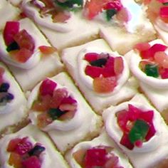Nata Cake  Cake squares stuffed with a pudding-like filling and topped with whipped cream.