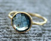 Gold and Blue Topaz ring 65 clams from Ohkuol