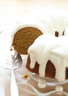 Pumpkin Bundt Cake with Vanilla Bean Icing {traditional and gluten free recipes} by Barefeet In The Kitchen