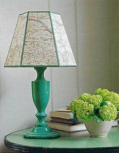 cover an lamp shade with an old or new map.....so many possibilities