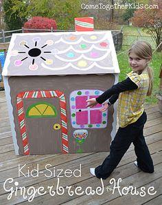 Kid-sized gingerbread cardboard house.