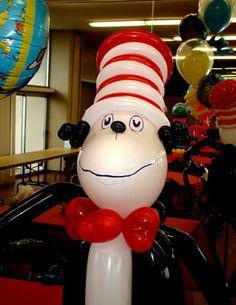 dr seuss balloons, cat in the hat balloons, balloon decor, seuss parti, balloon anim