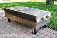 Great rustic DIY coffee table for our Deck