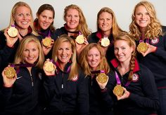 Rowing Women's Eight gold medalists  (From left, top row) Esther Lofgren, Caryn Davies, Eleanor Logan, Zsuzsanna Francia and Taylor Ritzel. (Bottom) Meghan Musnicki, Erin Cafaro, Mary Whipple and Caroline Lind.