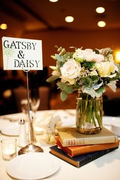 "instead of table numbers, name each table after famous literary couples. i love the idea of a ""love story"" themed wedding."