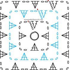 Left Handed Crochet Stitch Diagrams - Granny Squares #crochet #lefthand #crochetstitches