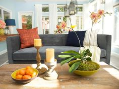 living rooms, color, blue wall, sabrina soto, hgtv, live room, high low, highlow, sunroom