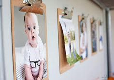 Clip board photo display idea .... I'd either paint, collage or paper cover the clipboard. You could dress it up with the person's name or location on the clip .... ribbon, jewels etc.
