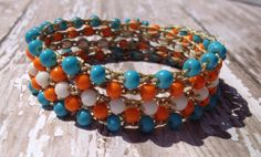 Bohemian Boho Beaded Crochet Wrap Bracelet/ by The1Bohemian, $40.00