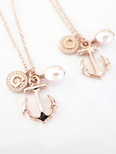 Personalized Anchor necklace - simple rose gold filled necklace, Freshwater Pearl, letter, initial, best friends, sisters, mum, navy, www.colormemissy.com