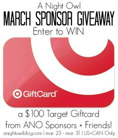 March Sponsor $100 Target Gift Card Giveaway - A Night Owl Blog