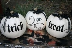 cute halloween decorations. black and white pumpkins!