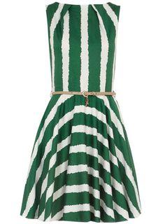 dorothy perkins green belted flared dress