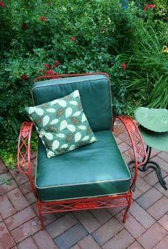 Vintage red metal patio chair