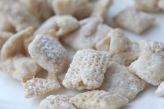 Chex Lemon Buddies - Ingredients:    9 cups Rice Chex cereal;   1 1/4 cup white vanilla baking chips;   1/4 cup butter or margarine;  4 tsp grated lemon peel;  2 Tbsp lemon juice;  2 cups powdered sugar;