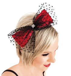 Red satin bow layered with Swiss tulle on a ribbon wrapped headband. Great for accessorizing costumes! Swiss Dot Tulle & Red Satin Bow Headband - Style #LS201 at Discount Dance Supply #Dance #Lacey #Schwimmer #Discount #Bow #Red