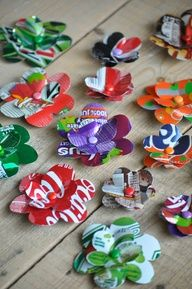 Flower clips from recycled soda cans