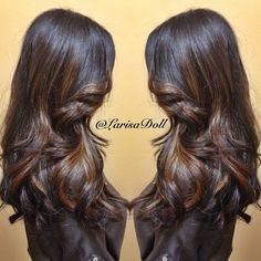 Dark warm brown with subtle balayaged golden beige highlights. These is what I've been looking for.