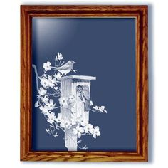 Bluebirds and Dogwood Art Etched Large Rectangular Mirror