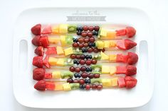 Rainbow Fruit Kabobs - welcometothemousehouse.com