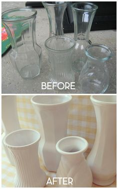 SIMPLE, SIMPLE, SIMPLE:  Faux Milk Glass - cheap clear vases sprayed with gloss white paint.  <3