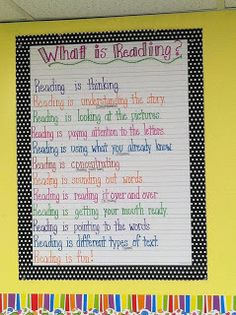 Life in First Grade: What is Reading? Anchor Chart.