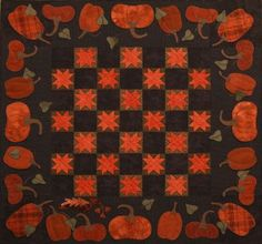 "Primitive Gatherings Quilt shop cute for fall kit  Product Information  Enjoy this Autumn wall or table quilt using cotton backgrounds and hand dyed wool applique pumpkins.....the pieced blocks finish 4""  and the alternating blocks feature quilted stars.  The backgrounds are from our new line Seasonal Little Gatherings. Finished size is 45"" x 45 ""."