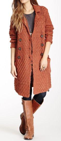 Rust Chunky Knit Cardigan