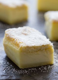 Lemon Magic Cake - If you like custard you are going to love this cake. The bottom layer tastes like hardened custard, the middle later is gooey custard and the top layer is like fluffy cake. The lemon helps makes it all taste light and fresh.