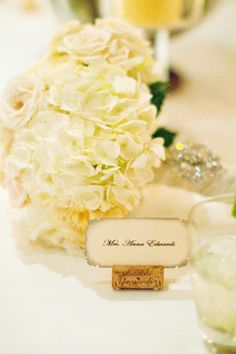 bouquet, name tags, place card holders, wine corks, escort cards, place cards, name cards, seating cards, flower