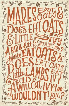 Mares Eat Oats by Mary Kate McDevitt I still remember this song!!! omgsh. old times