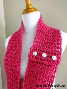 Honolulu Button Scarflette, free crochet pattern from Fiber Flux