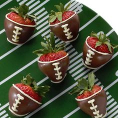 Chocolate Dipped Football Strawberries for game night