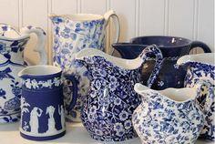 blue pitcher, creamer, blue ware, pitcher perfect, blue china, blue white, bailiwickdesign, blues, white pitcher