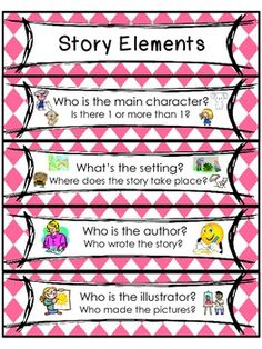 Story Elements & Comprehension Skills Ring Cards $