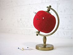 Vintage Red Pin Cusion  global tomato by Bluebell on Etsy