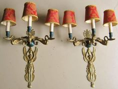 Large Antique Pair of French Empire Style Bronze Sconces, Figural, 3-Arm, CA.1900