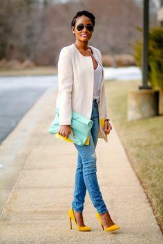 Cream blazer, denim, mustard pumps and mint clutch