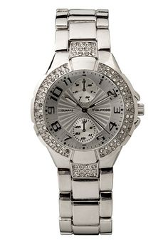 Silver-colored Rhinestone Embellished Watch (original price, $20) available at #Maurices