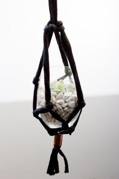 Macrame hanging pot.