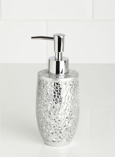 Splish splash sparkle on pinterest bathroom for Silver crackle bathroom accessories