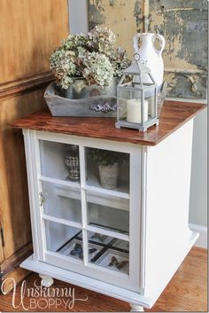 DIY End Table built from an old wooden window!  Great tips on how to style tables in this post.