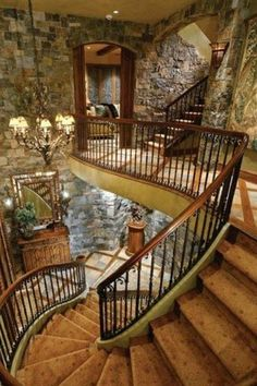 stairway, dream homes, stone walls, house architecture, rock