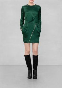 & Other Stories | Silk-Blend Dress | Dark Green
