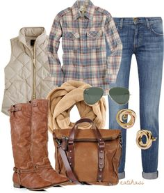 """Love the vest and scarf. """"Fall Outfit"""" by natihasi on Polyvore"""