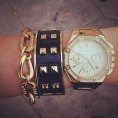 Gold studs & chains.
